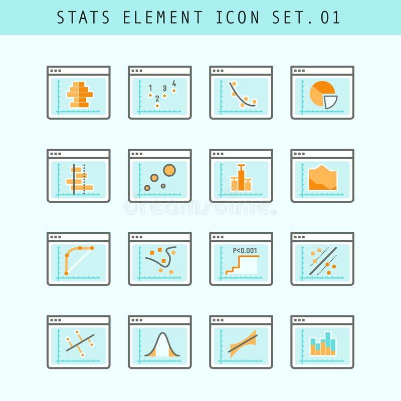 Línea sistema de elementos plano de la estadística de los iconos 01 ilustración del vector