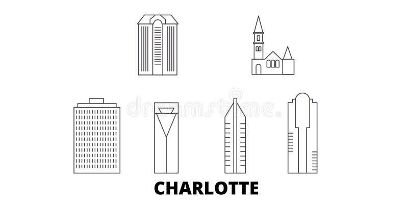 Línea sistema de Estados Unidos, Charlotte del horizonte del viaje Ejemplo del vector de la ciudad del esquema de Estados Unidos, ilustración del vector
