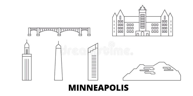 Línea sistema de Estados Unidos, Minneapolis del horizonte del viaje Ejemplo del vector de la ciudad del esquema de Estados Unido ilustración del vector