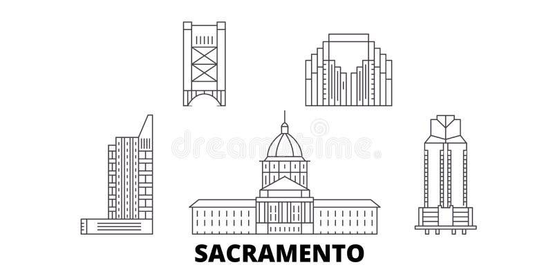Línea sistema de Estados Unidos, Sacramento del horizonte del viaje Ejemplo del vector de la ciudad del esquema de Estados Unidos stock de ilustración