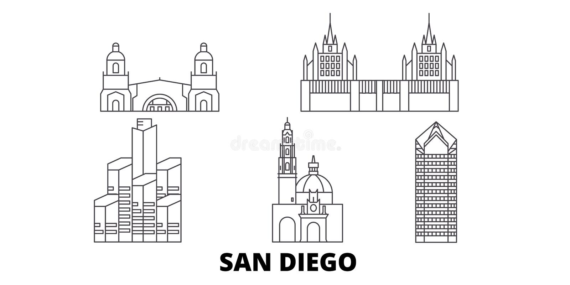 Línea sistema de Estados Unidos, San Diego del horizonte del viaje Ejemplo del vector de la ciudad del esquema de Estados Unidos, libre illustration