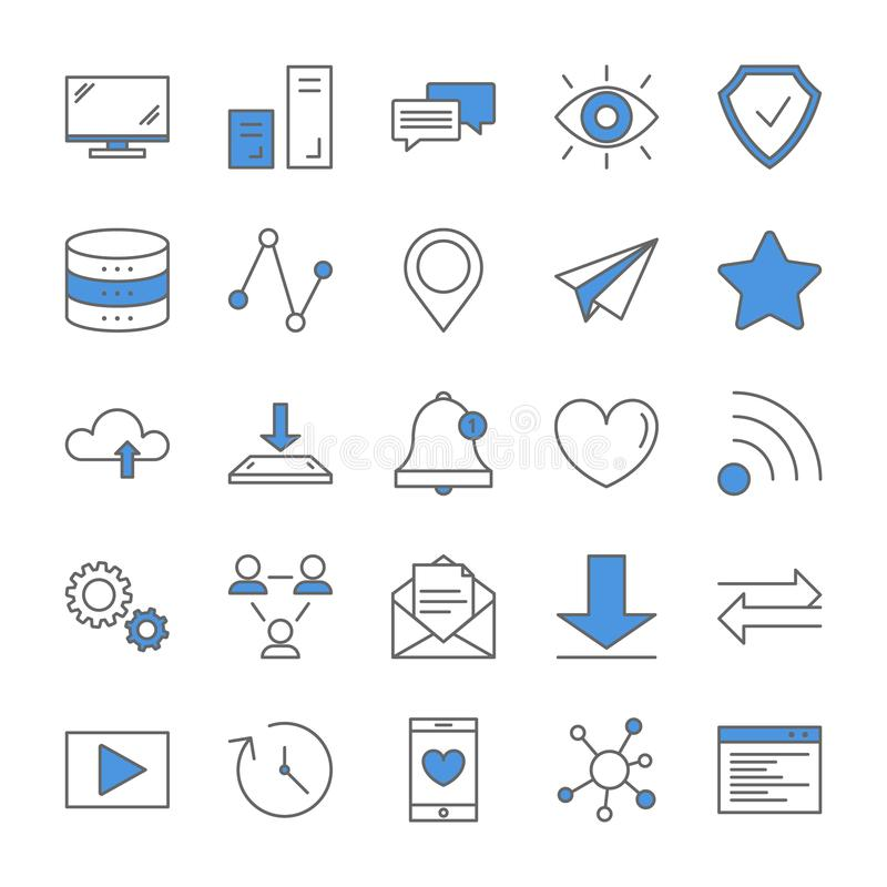 Línea sistema de Internet del icono ilustración del vector