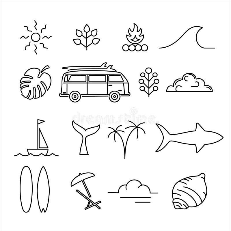 Línea sistema de la aventura de las vacaciones de verano del icono del arte stock de ilustración