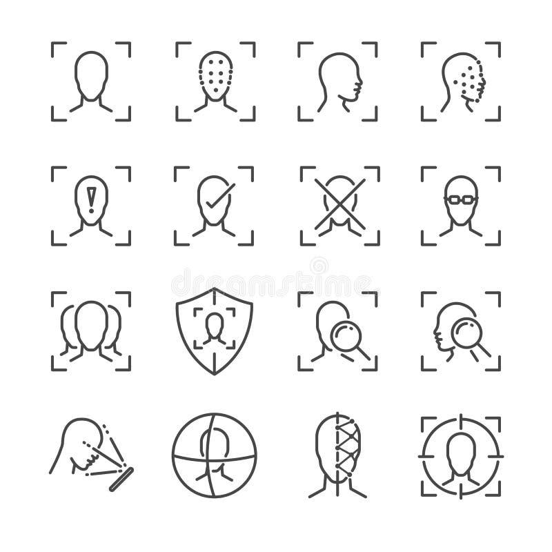 Línea sistema de la identificación de la cara del icono Incluyó los iconos como cara, reconocimiento, facial, los desbloquean, lo ilustración del vector