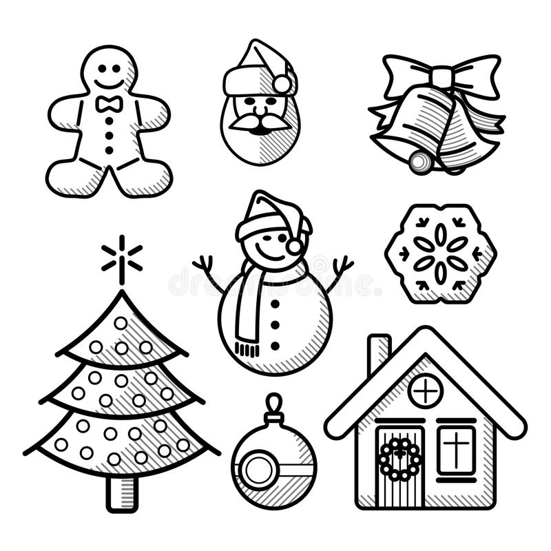 Línea sistema de la Navidad o del Año Nuevo del icono stock de ilustración