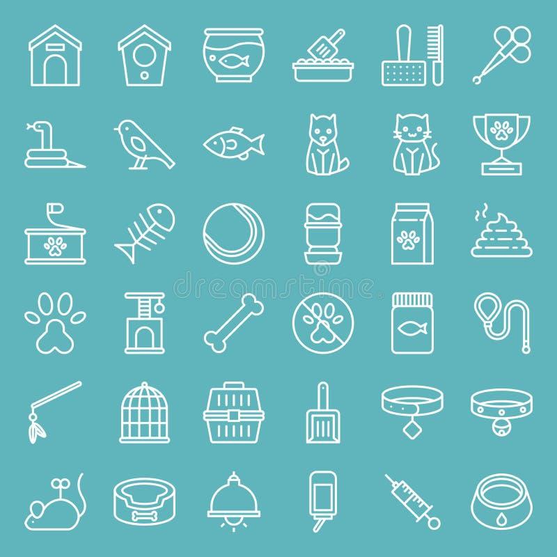 Línea sistema de la tienda de animales del icono del vector aislado en fondo del cielo azul libre illustration