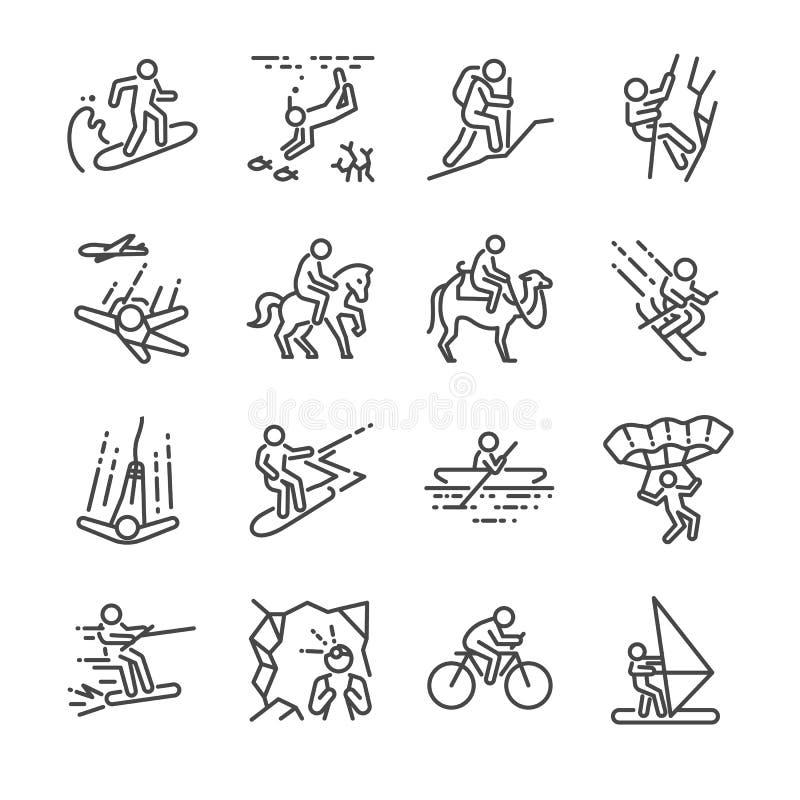 Línea sistema de las actividades del viaje del icono Incluyó los iconos como navegación, esquí, paracaídas, montar a caballo, bik stock de ilustración