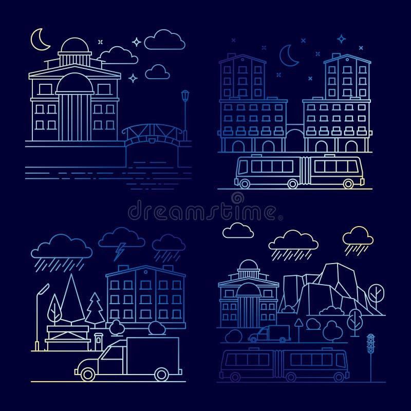 Línea sistema de las banderas del vector del paisaje de la ciudad de la noche ilustración del vector