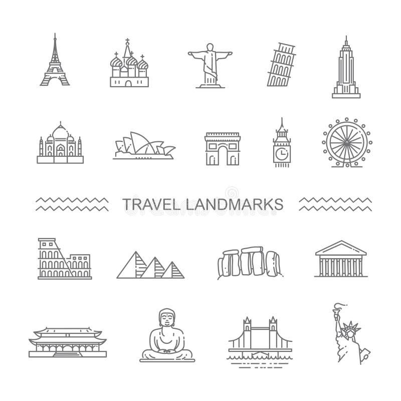 Línea sistema de las señales del viaje del icono libre illustration