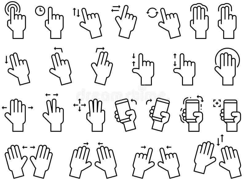 Línea sistema de los gestos de mano del icono ilustración del vector