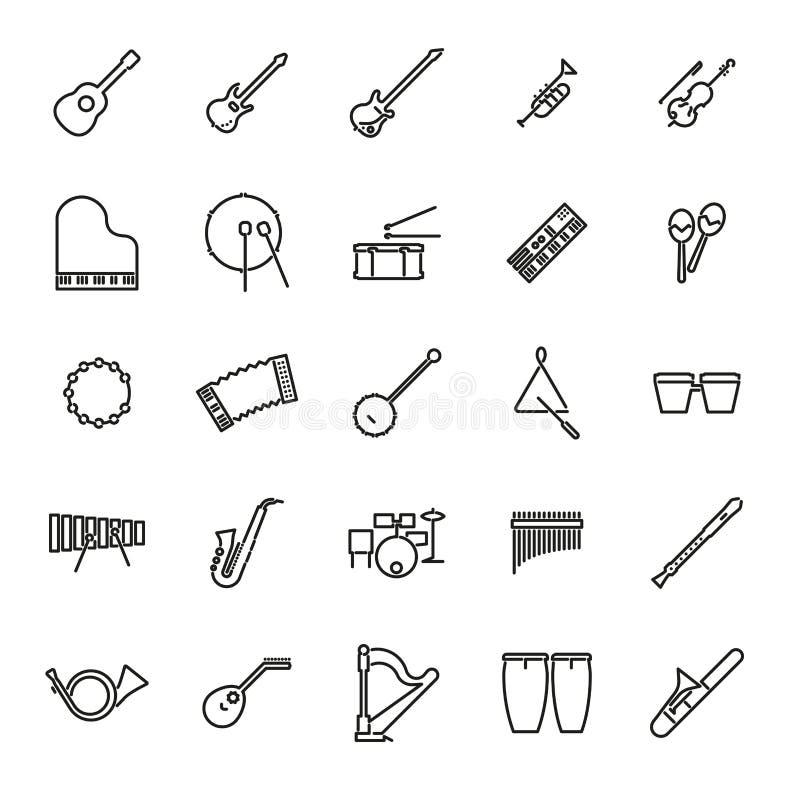 Línea sistema de los instrumentos musicales del vector del icono libre illustration
