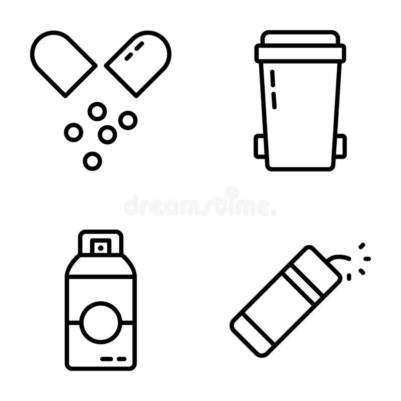 L?nea sistema de UI de los iconos stock de ilustración