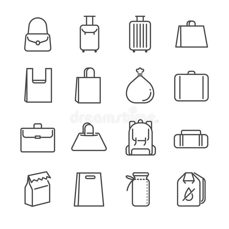 Línea sistema del bolso del icono Incluyó los iconos como la bolsa de plástico, la maleta, el equipaje, el equipaje y más stock de ilustración