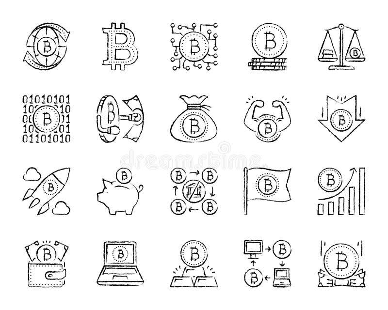 Línea sistema del drenaje del carbón de leña de Bitcoin del vector de los iconos stock de ilustración