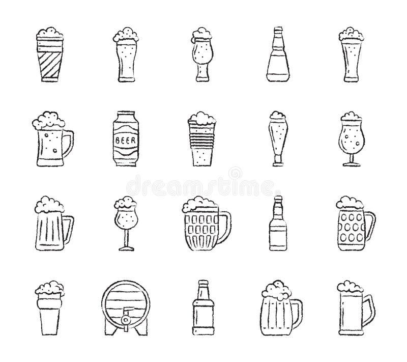 Línea sistema del drenaje del carbón de leña de la taza de cerveza del vector de los iconos ilustración del vector