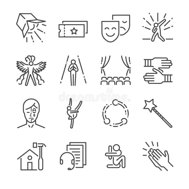Línea sistema del funcionamiento del icono Incluyó los iconos como máscara, imitan, los efectúan, concierto y más libre illustration