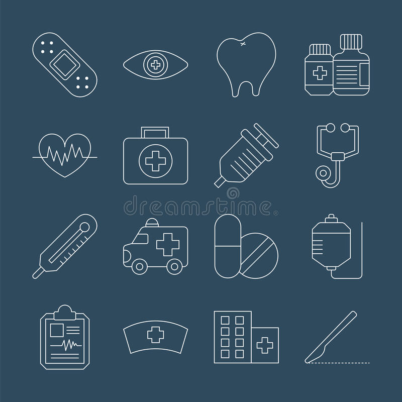 Línea sistema del hospital del icono libre illustration