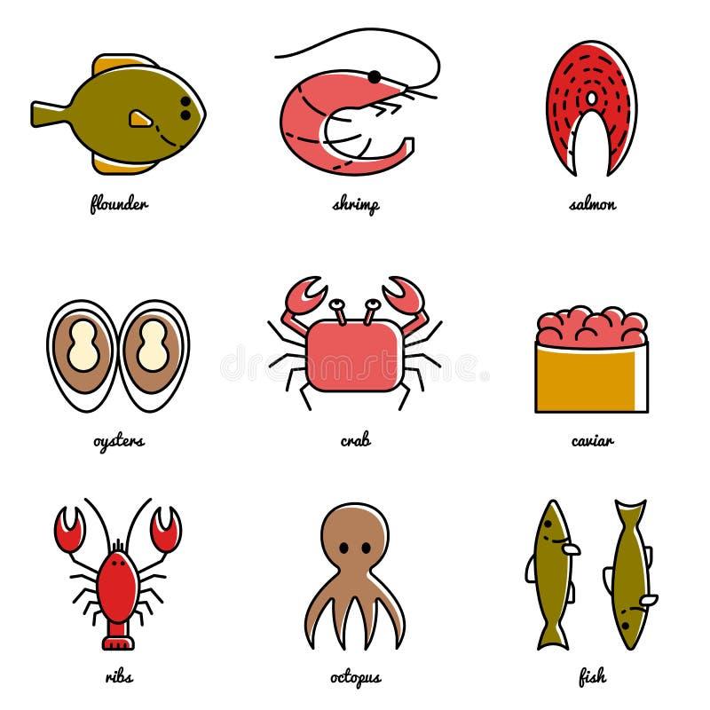 Línea sistema del icono del marisco del arte Elementos de Infographic libre illustration