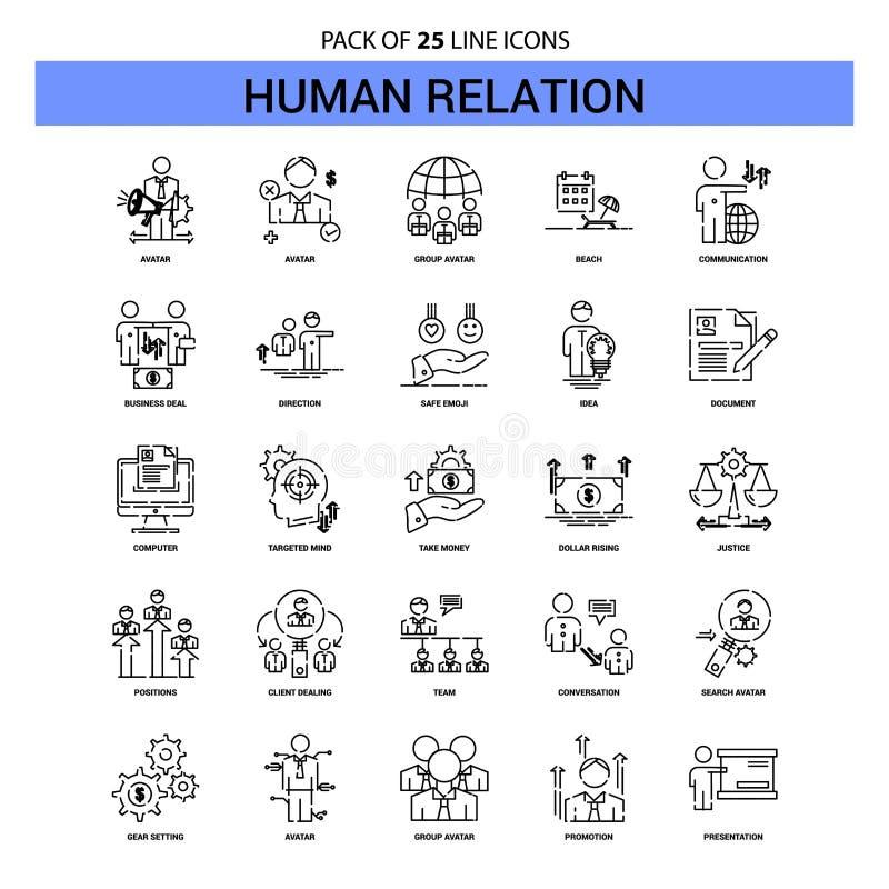 Línea sistema del icono - estilo rayado de la relación humana del esquema 25 ilustración del vector