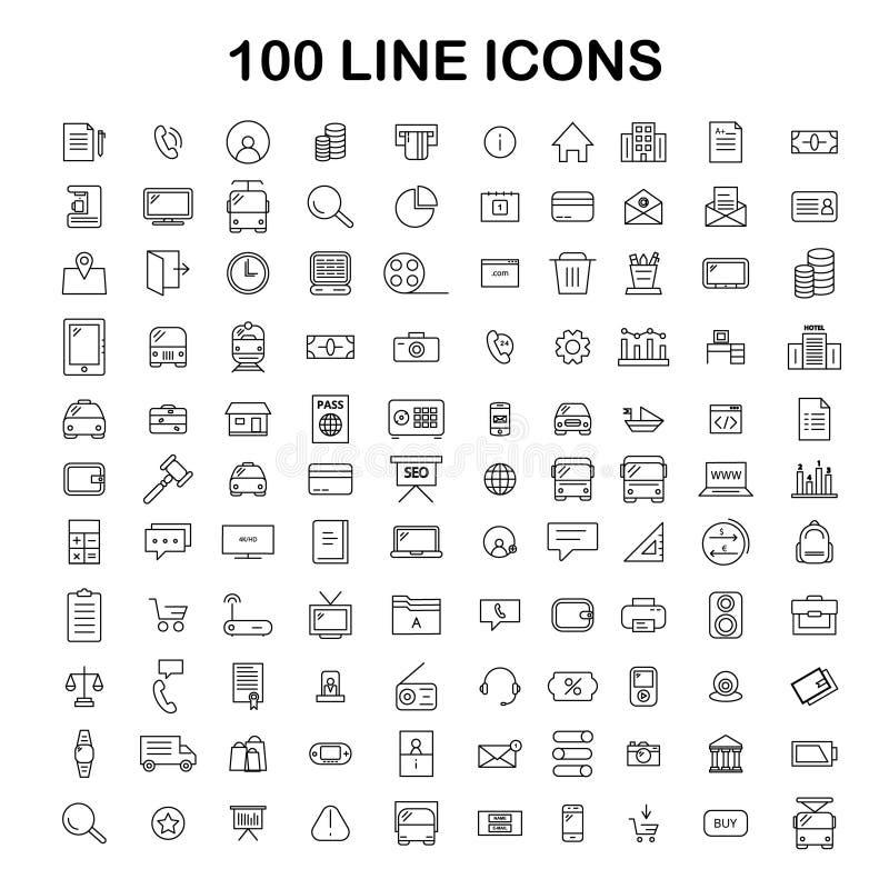 100 línea sistema del icono Iconos finos y simples de moda para el web y Mobi stock de ilustración