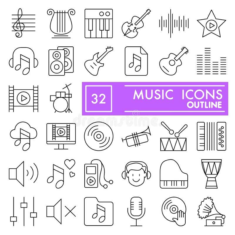 Línea sistema del icono, símbolos audios colección, bosquejos del vector, ejemplos del logotipo, pictogramas lineares de la músic stock de ilustración