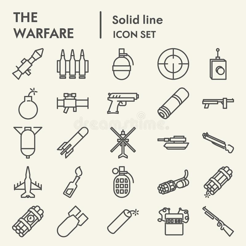 Línea sistema del icono, símbolos colección, bosquejos del vector, ejemplos del logotipo, pictogramas lineares de la guerra del a ilustración del vector