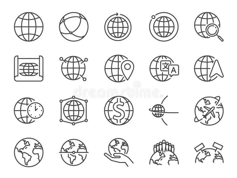 Línea sistema del mundo del icono Iconos incluidos como el globo, el mapa, global, internacional, mapa y más ilustración del vector