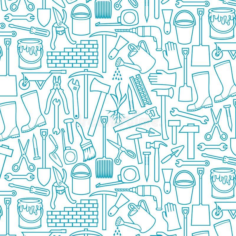 Línea sistema del thine de los utensilios de jardinería de los iconos libre illustration