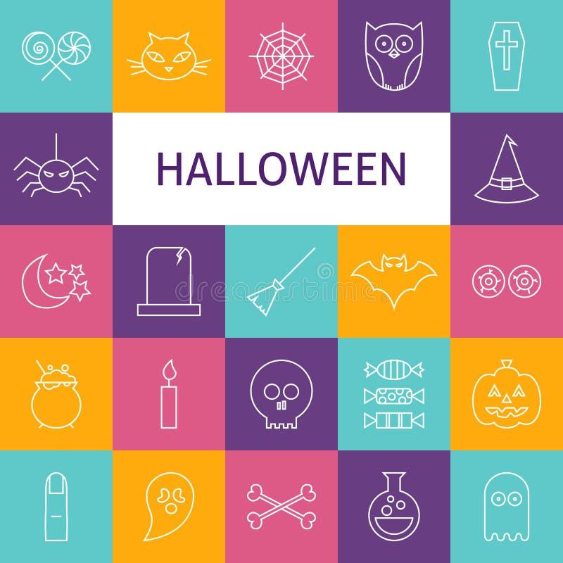 Línea sistema del vector de Art Modern Halloween Holiday Icons stock de ilustración