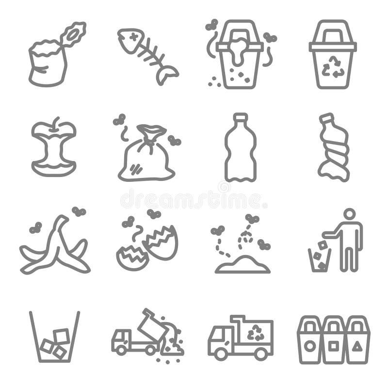 Línea sistema del vector de la basura del icono Contiene los iconos tales como la cáscara del plátano, espina de pez, cáscara de  ilustración del vector
