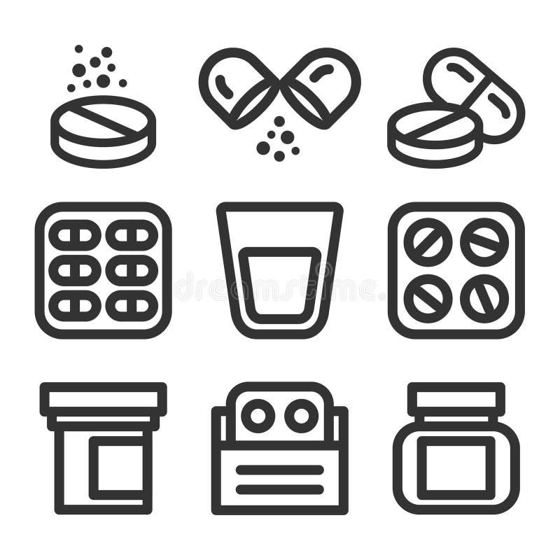 Línea sistema del vector de la medicina y de las píldoras del icono del estilo libre illustration