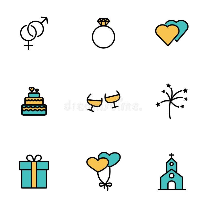 Línea sistema del vector del icono de la boda stock de ilustración