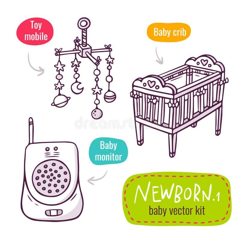 Línea sistema del vector del icono del arte con los productos del bebé para el aislante de los recién nacidos stock de ilustración