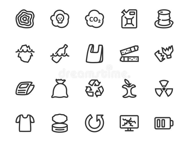 Línea sistema del vector del icono de la basura y de la clasificación inútil stock de ilustración