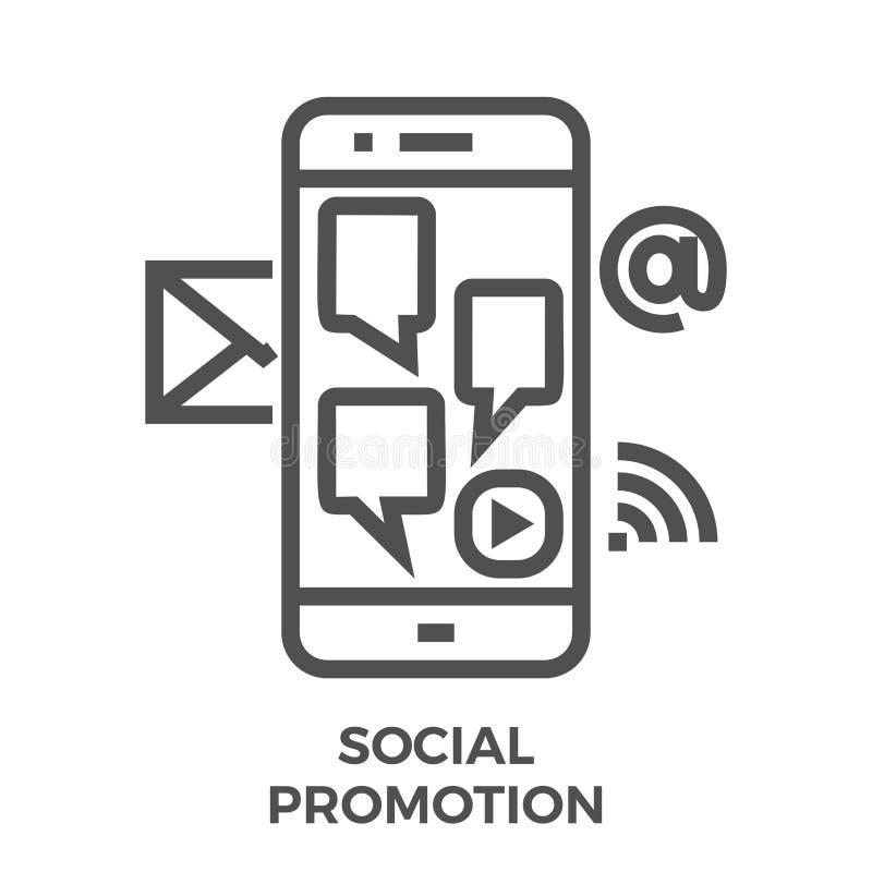 Línea social icono de la promoción stock de ilustración
