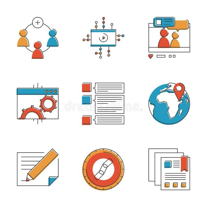 Línea social iconos de los elementos del márketing fijados ilustración del vector