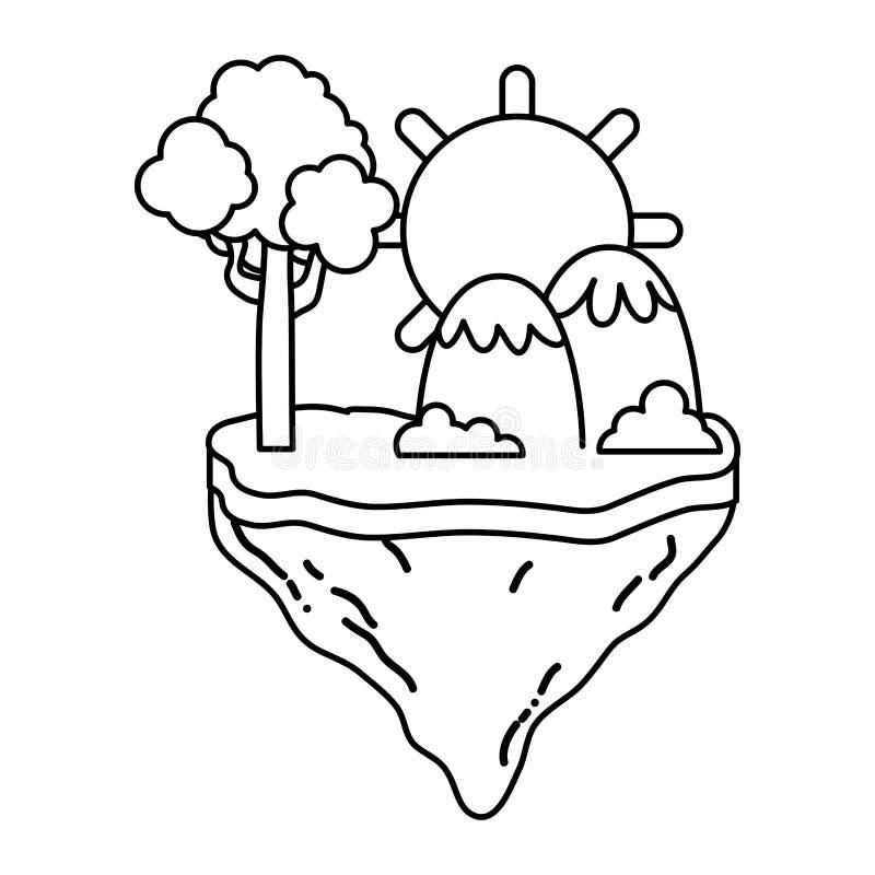 Línea sol con el árbol y montañas en la isla del flotador ilustración del vector