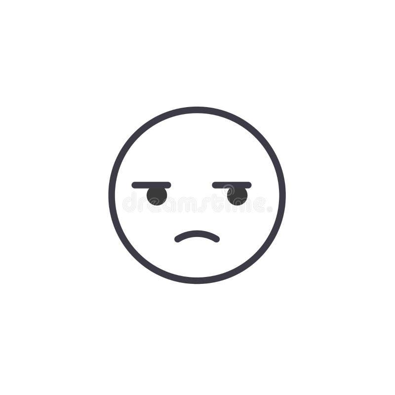 Línea sospechosa vector editable, icono del concepto de Emoji del concepto Ejemplo linear de la emoción del concepto sospechoso d stock de ilustración
