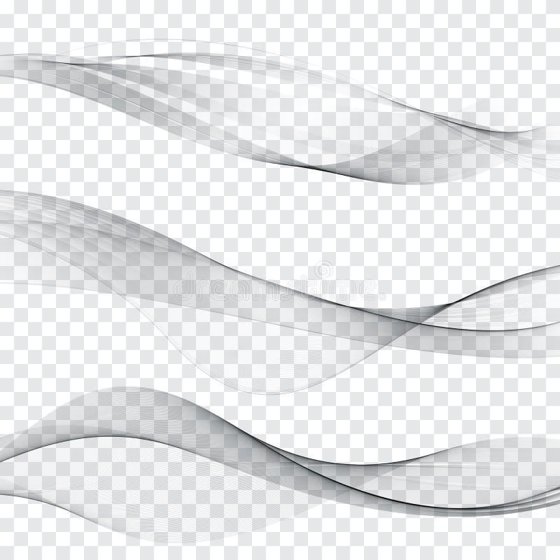 Línea suave gris sistema suave de la disposición de la onda del extracto de la colección del jefe del web stock de ilustración