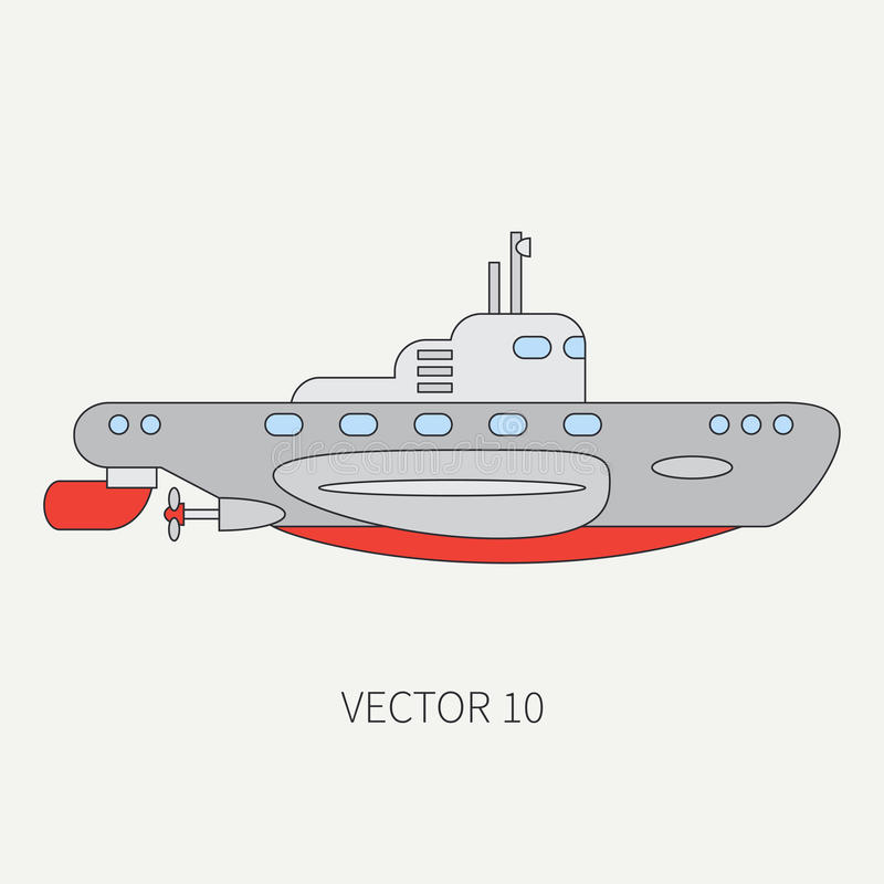 Línea submarino naval del vector del icono plano del color Buque de guerra de Dreadnought Estilo del vintage de la historieta Gue stock de ilustración