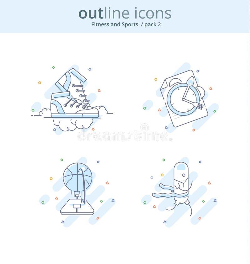 Línea superior icono y concepto de la calidad fijados: Aptitud, baloncesto, dieta, zapatillas de deporte, corriendo Línea concept stock de ilustración