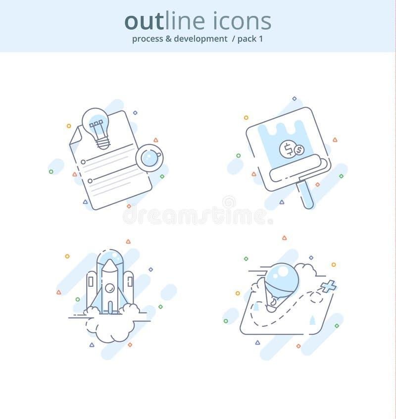 Línea superior icono y concepto de la calidad fijados: Empiece para arriba, dirigiendo, haga el dinero, Rocket, idea, Línea conce stock de ilustración