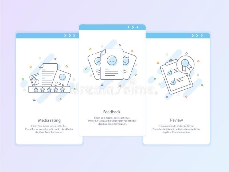 Línea superior icono y concepto de la calidad fijados: Gestión, contenido, reacción, comentario, emoción Línea concepto del logot libre illustration
