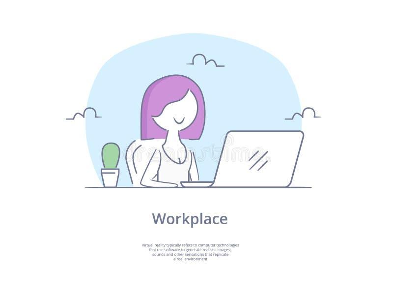 Línea superior icono y concepto de la calidad fijados: Las empresarias hermosas jovenes trabajan en el ordenador portátil portáti libre illustration