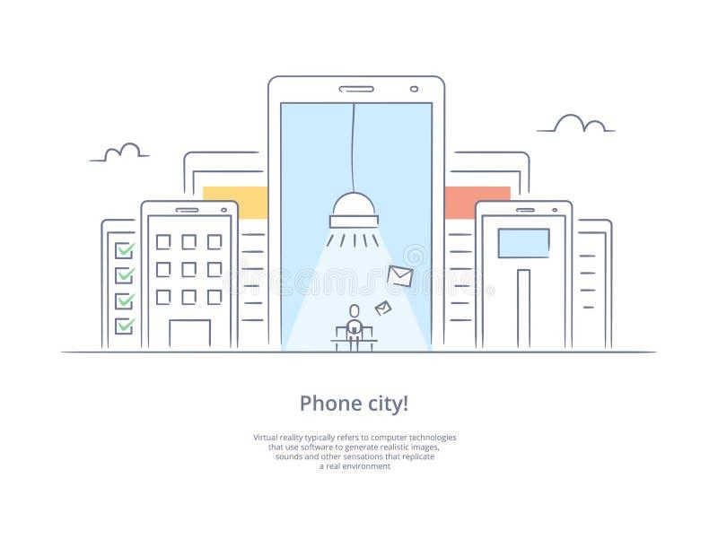 Línea superior icono y concepto de la calidad fijados: Llame por teléfono a la ciudad con una persona que escriba un mensaje libre illustration