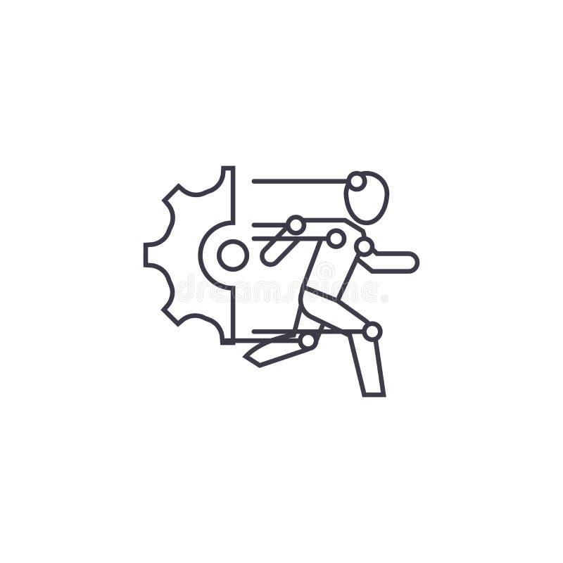 Línea técnica icono, muestra, ejemplo del vector de unidades del robot en el fondo, movimientos editable libre illustration