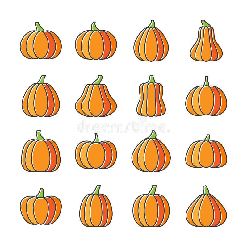 Línea terraplén desplazado sistema de la calabaza de Halloween del icono stock de ilustración