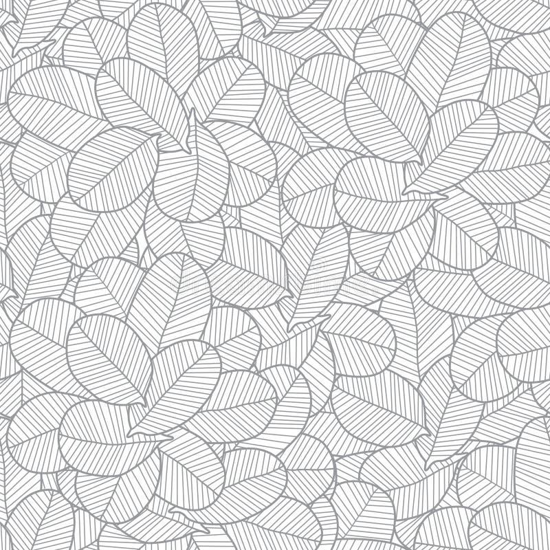Línea textura gris del vector de las hojas del arte inconsútil stock de ilustración
