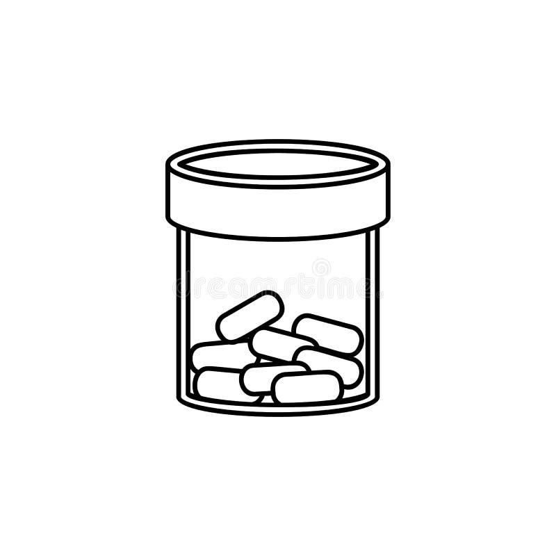 Línea transparente icono de la botella de la medicina El elemento de la medicina equipa el icono Diseño gráfico de la calidad sup stock de ilustración