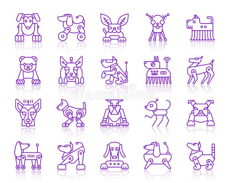 Línea ultravioleta simple sistema del perro del robot del vector de los iconos ilustración del vector